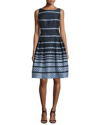 Sleeveless Scalloped Jacquard Fit & Flare Dress