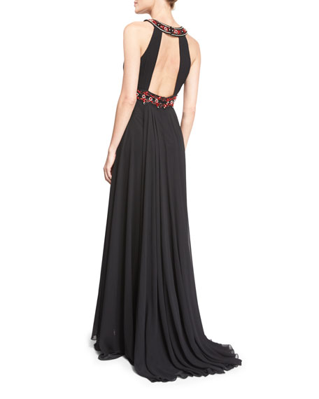 Sleeveless Embellished Grecian Gown, Black