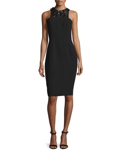 Sleeveless Embellished-Front Structured Cocktail Dress