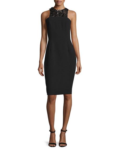 Carmen Marc Valvo Sleeveless Embellished-Front Structured Cocktail Dress