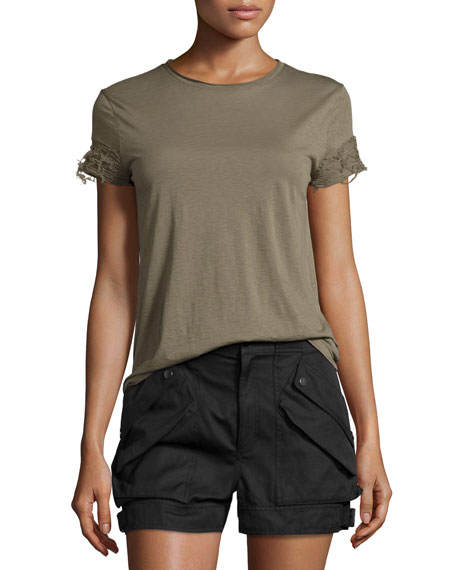 Helmut Lang Distressed-Sleeve Jersey Tee, Army