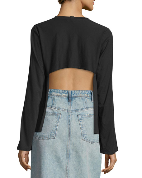 Open-Back Pima-Blend Top, Black