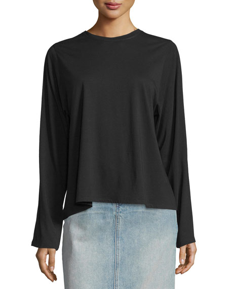 Helmut Lang Open-Back Pima-Blend Top & Faded Denim