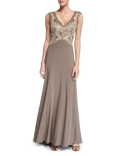 Sleeveless Embellished-Bodice Gown, Taupe