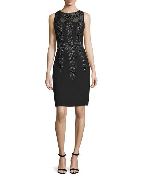 Sue Wong Sleeveless Embellished Sheath Dress, Black