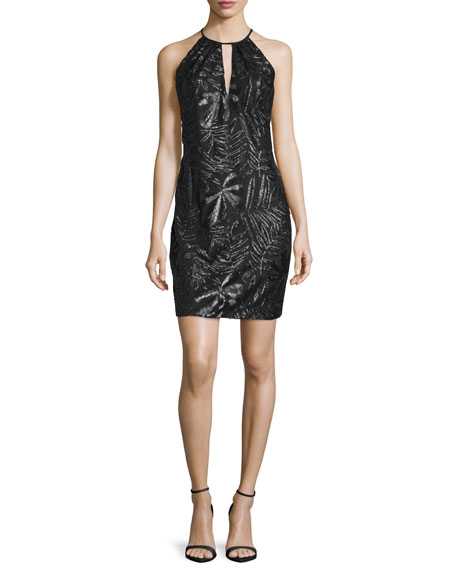 Carmen Marc Valvo Sleeveless Embroidered Sheath Cocktail Dress,