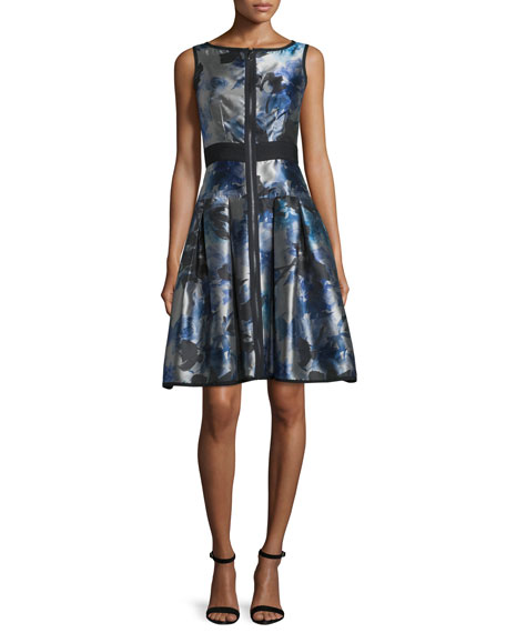 Sleeveless Floral Zip-Front Fit-and-Flare Dress, Multicolor