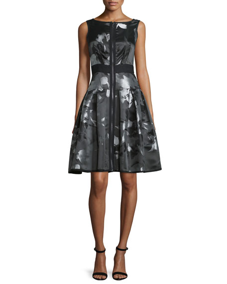Carmen Marc Valvo Sleeveless Floral Zip-Front Fit-and-Flare