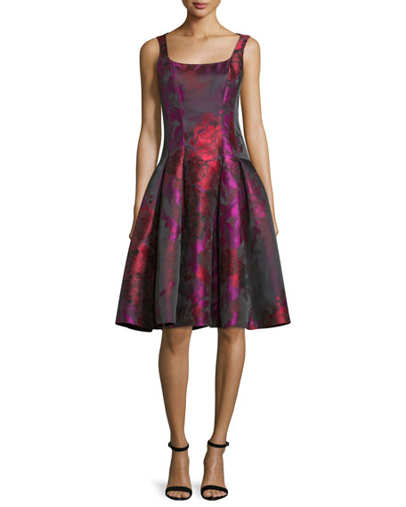 Sleeveless Floral Taffeta Dress, Fuchsia