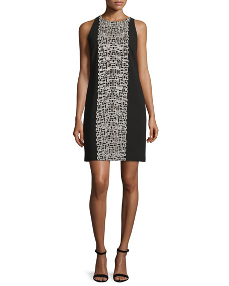 Carmen Marc Valvo Sleeveless Crepe Tile-Print Shift Dress,