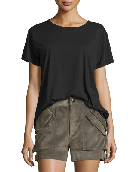 Helmut Lang Open-Back Jersey Tee, Black