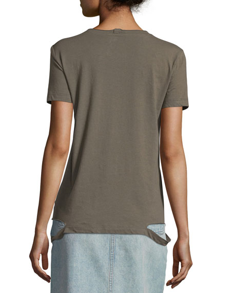 Slashed-Hem Cotton Jersey Tee, Camouflage