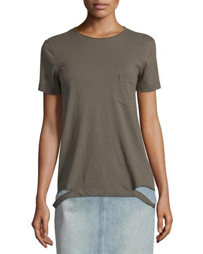 Slashed-Hem Cotton Jersey Tee, Camouflage