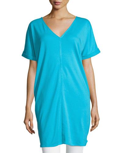 Long Cotton Interlock Tunic, Turquoise, Petite