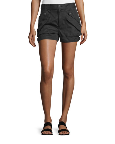 Cotton-Blend Buckled Mid-Rise Shorts, Black