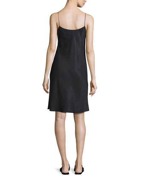 Sleeveless Voile Slip Dress, Black