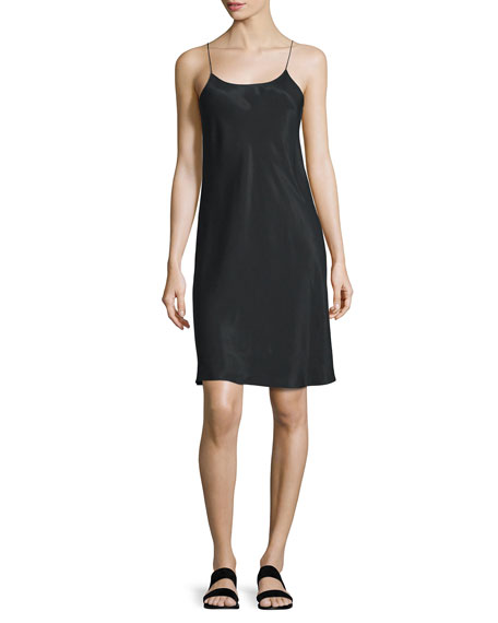 Helmut Lang Sleeveless Voile Slip Dress, Black