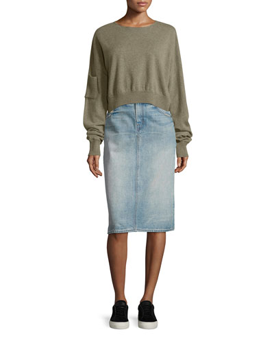 Cropped Seamless Cashmere Sweater, Moss Melange