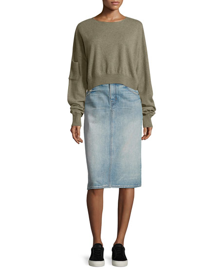 Helmut Lang Cropped Seamless Cashmere Sweater, Moss Melange