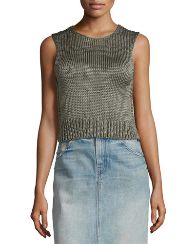 Cropped Silk Shell Tank, Thyme