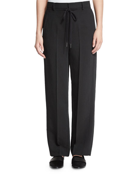 Helmut Lang Striped Wide-Leg Crepe Pants, Black/Ivory