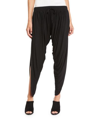 Shirred Drawstring Harem Pants, Black