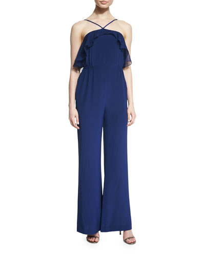 The Ashbury Silk Ruffle-Trim Jumpsuit, Midnight