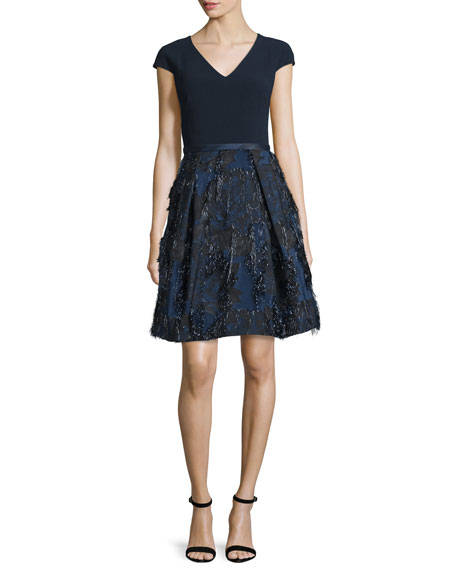 Theia Cap-Sleeve Fit-&-Flare Dress, Midnight
