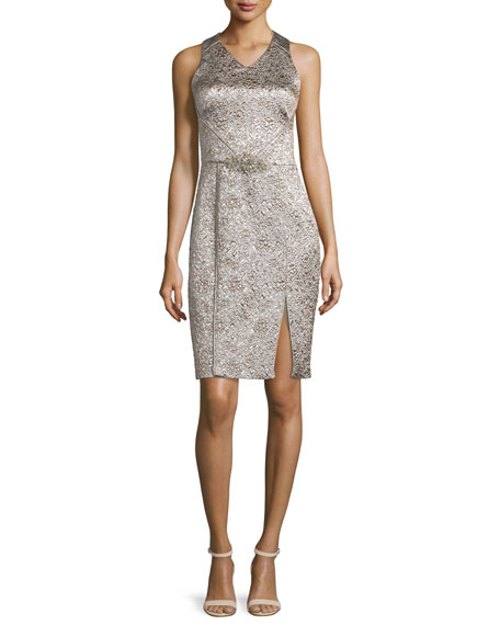 TheiaSleeveless Shimmery Cocktail Dress, Platinum