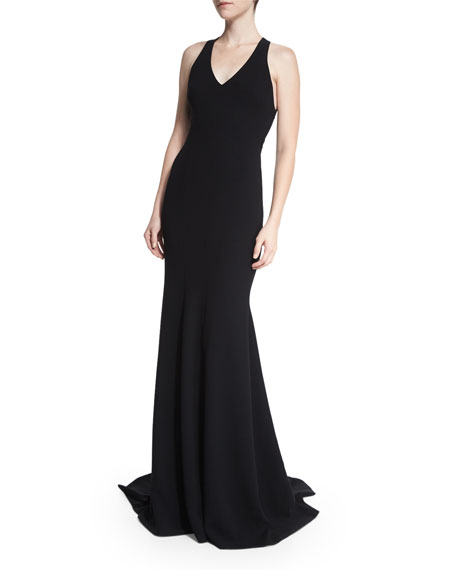 Sleeveless V-Neck Mermaid Gown W/ Butterfly Back