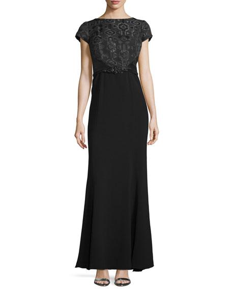 Theia Cap-Sleeve Bateau-Neck Gown, Black