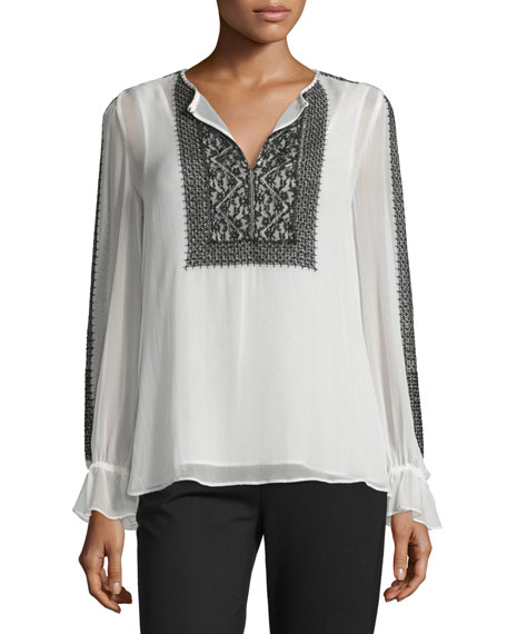 Long-Sleeve Semisheer Embroidered Peasant Top, Ivory/Black