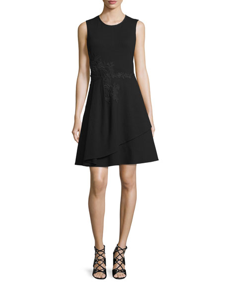 Kobi Halperin Eleni Sleeveless Lace-Appliqué Dress, Black
