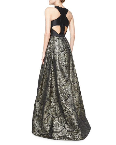 Sleeveless Combo Ball Gown, Black/Gold