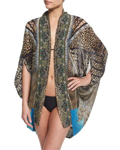 Open Front Printed Silk Cardigan/Cape Coverup, Rapturous