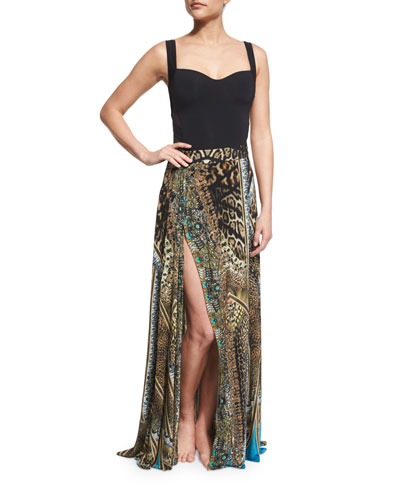 Printed Beaded High-Slit Coverup Skirt