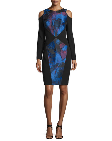 Theia Long-Sleeve Colorblock Dress, Cerulean