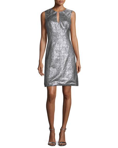 Theia Sleeveless Crackled Jacquard Fit & Flare Dress,