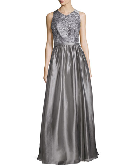 Theia Sleeveless Jewel-Neck Metallic Gown, Silver