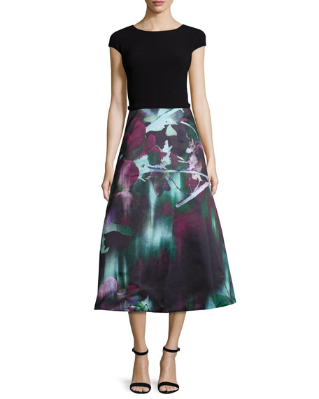 Theia Cap-Sleeve Combo Midi Dress, Black/Multi