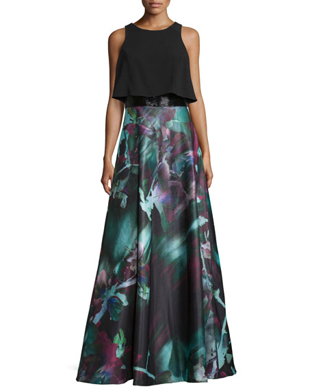 Theia Sleeveless Popover Floral-Print Gown, Black/Multi