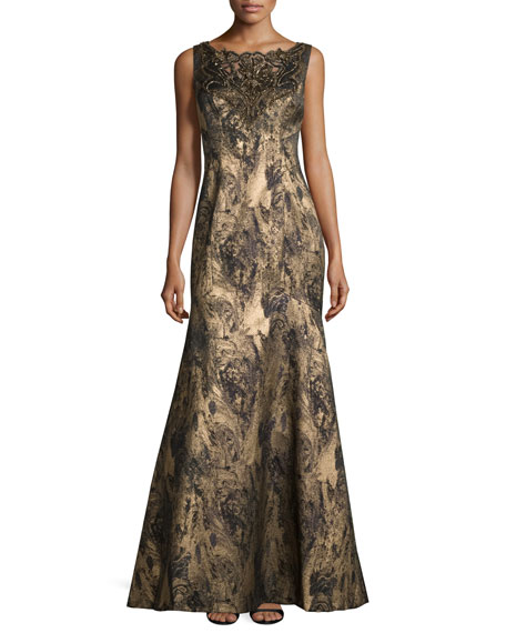 Sleeveless Embellished Metallic Gown, Navy/Gold