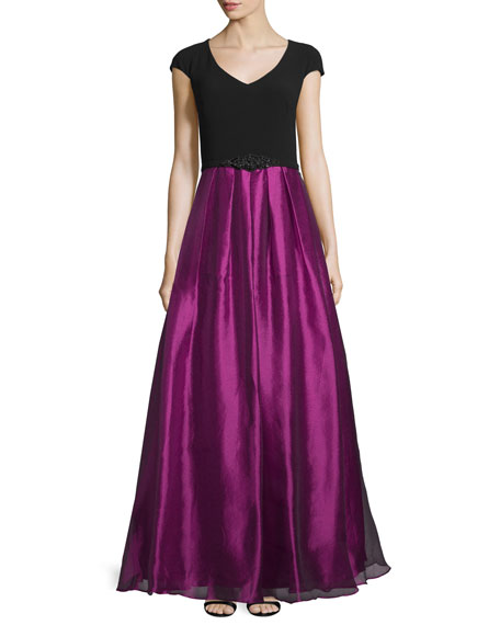 Theia Cap-Sleeve Colorblock Embellished Gown, Black/Violet