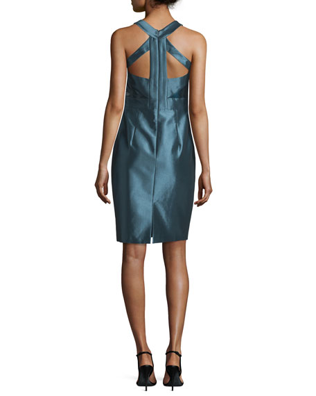 Sleeveless Liquid-Glass Cocktail Dress, Arctic Blue