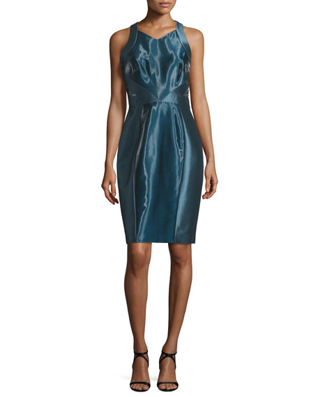 Theia Sleeveless Liquid-Glass Cocktail Dress, Arctic Blue
