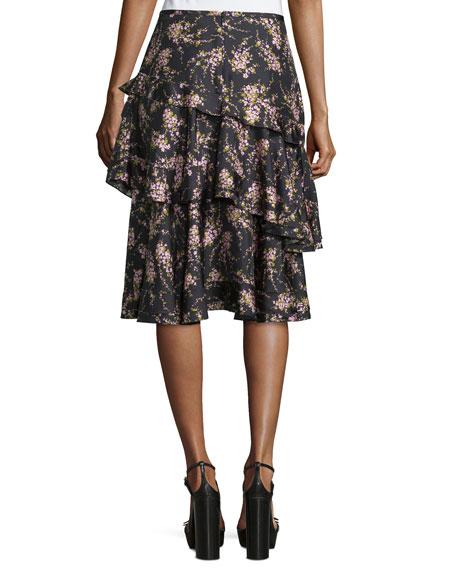 Floral-Print Tiered Ruffle Skirt, Black/Oleander