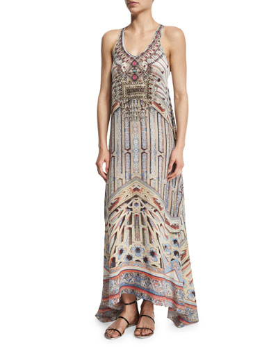Printed Beaded Racerback Maxi Dress
