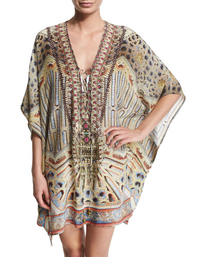 Printed Beaded Lace-Up Short Caftan Coverup