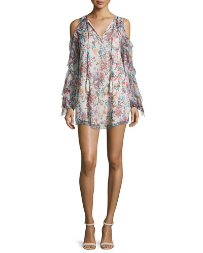 The Flowers in the Sun Floral Silk Dress, Multicolor