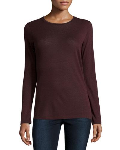 Cotton/Cashmere Long-Sleeve Crewneck Pullover